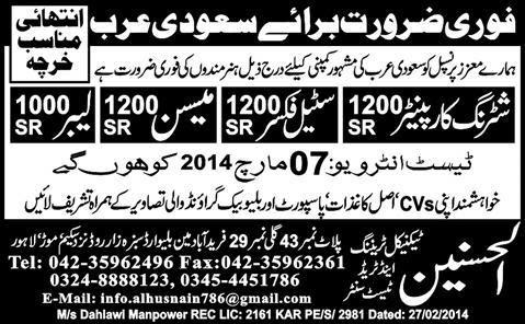 FIND JOBS IN PAKISTAN MASON STEEL FIXER JOBS IN PAKISTAN LATEST JOBS IN PAKISTAN
