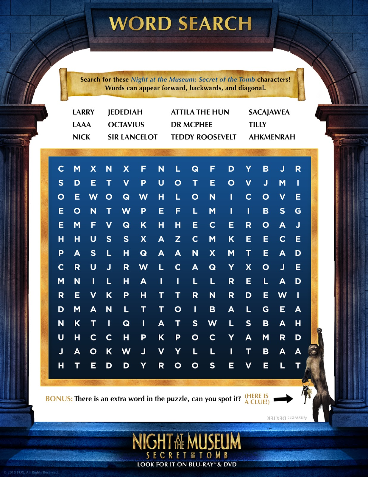 night of the museum 3 wordsearch