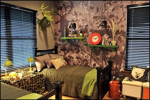 modern style rustic cabin in the camping woods theme bedroom