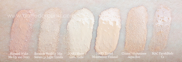 Nars tinted moisturizer swatches comparison