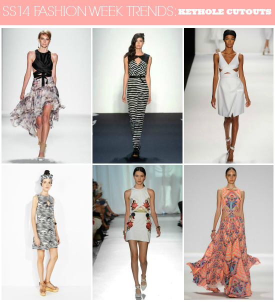 SS14 Runway Trends: Keyhole Cutouts / Click here for more fashion week #trend coverage! http://lapetitefashionista.blogspot.com/2013/09/ss14-runway-trends-recap.html