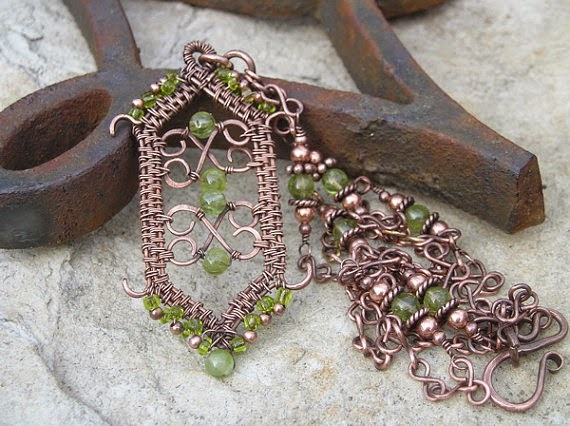 Copper & Peridot Gothic Pendant w/Beaded Chain