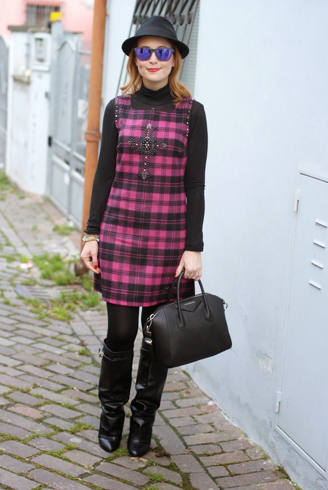 blugirl folies check dress, tartan dress, givenchy lookalike boots, Fashion and Cookies, fashion blogger