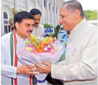 Speaker N. Manohar greets Governor E.S.L. Narasimhan in the Assembly