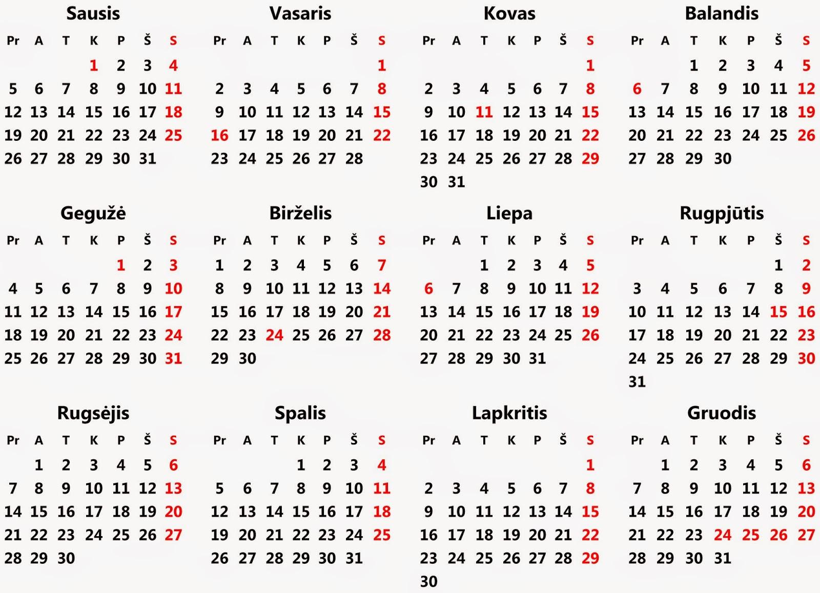 2015 metų kalendoriaus