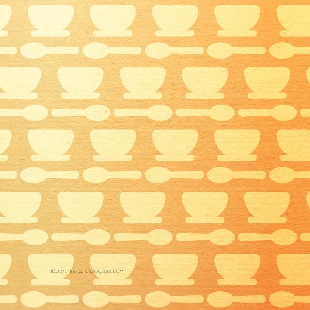 """Muster """"Tassen und Löffel"""" in orange/gelb, mit Icon von flaticon.com"""