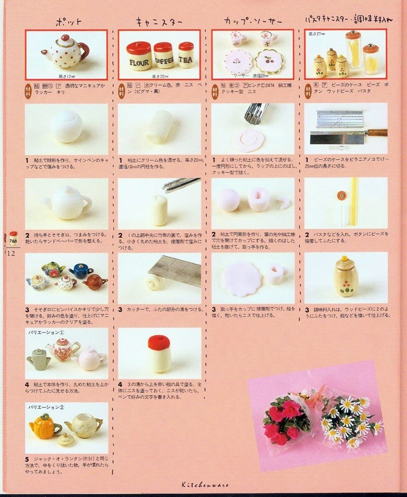 Polymer Clay Miniature Tutorial Scans for Fruit, Flowers, and Teapots