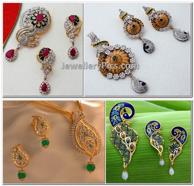 diamond pendent earrings set designs