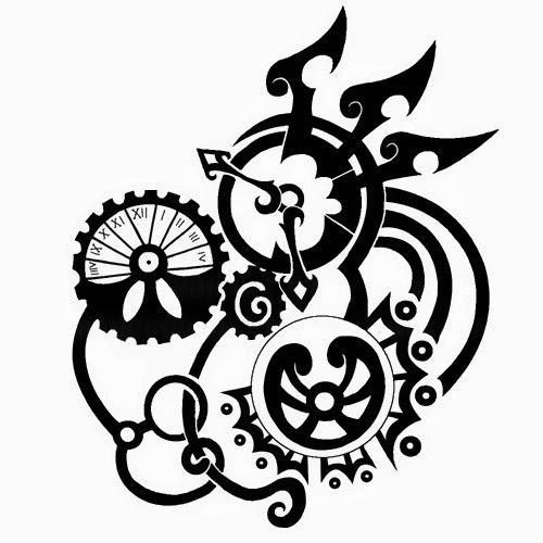 Clock gears biomechanical (steampunk) tattoo stencil