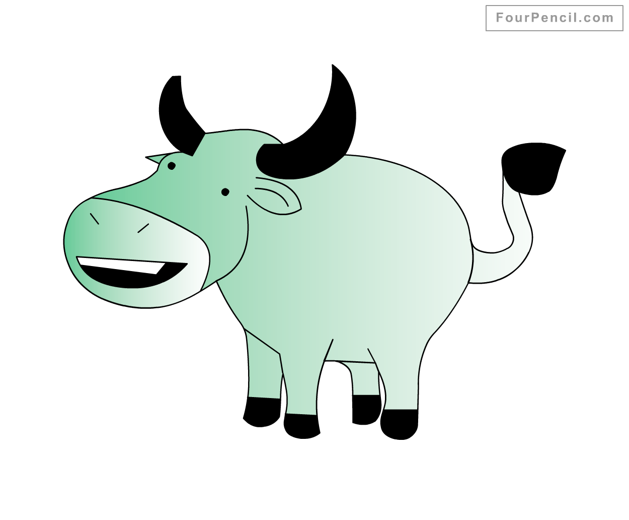 Fpencil: How to draw Buffalo for kids step by step