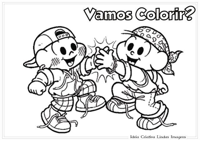 Desenho de Dia do Amigo para colorir - Cebolinha e Cascão Turma da Mônica