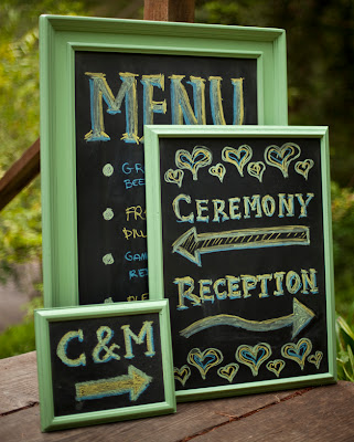 chalkboard wedding reception signs