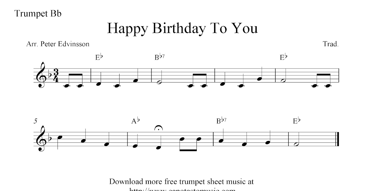 Happy Birthday To You Free Trumpet Sheet Music Notes