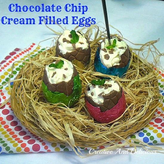 Chocolate Chip Cream Filled Eggs ~ Turn a plain, hollow chocolate Easter Egg in a delicious filled dessert #Easter #QuickAndEasyRecipe