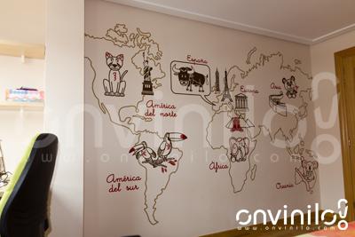 Onvinilo comunicaci n visual blog mapamundi infantil de vinilo la decoraci n ideal para los - Vinilo mapamundi infantil ...
