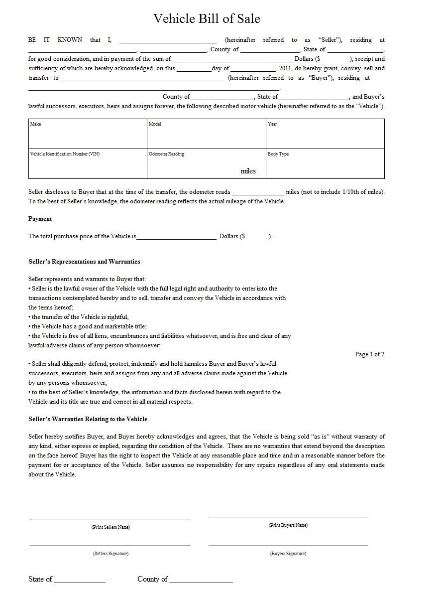 vehicle sales receipt form