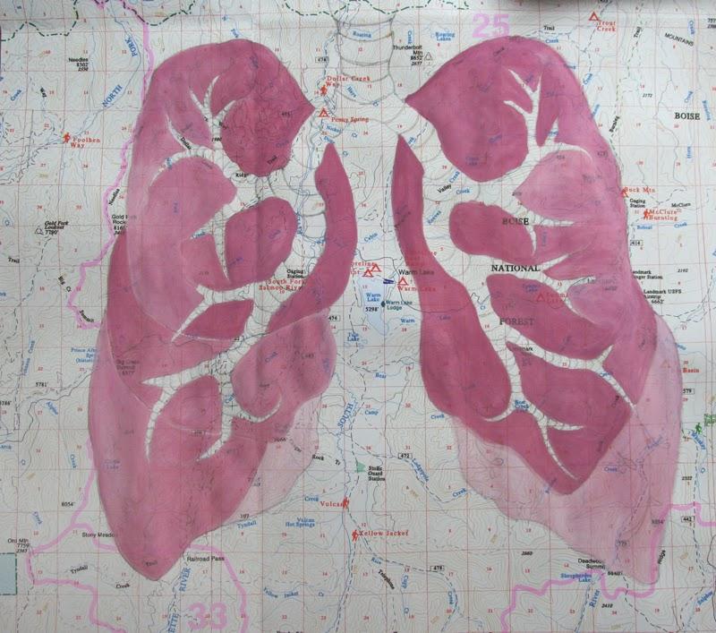 ©2014 Lauren T Kistner, Fresh Mountain Air, Ink & Watercolor on Map