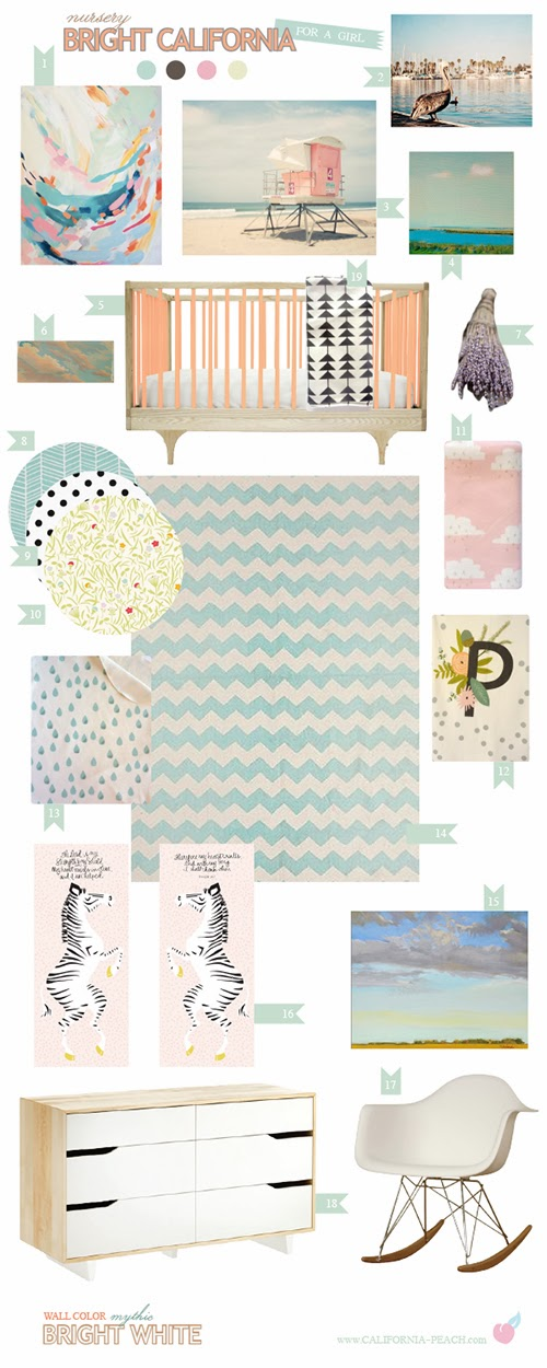 Bright California || on California Peach || Nursery Baby Room Interior Design Style Board