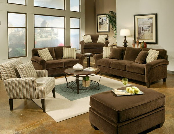 Bring natural colors in your home - Brown couch living room color schemes ...