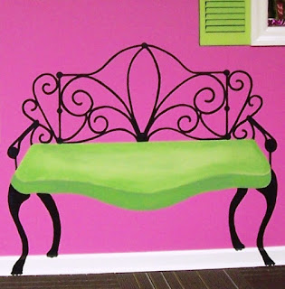 lime green love-seat bench mural