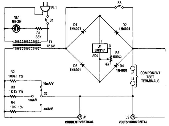 build a curve tracer circuit diagram