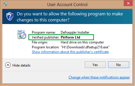 Defraggler installer is signed with code signing authority