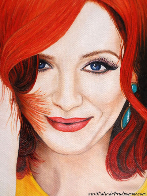 malinda prudhomme, colour inspired beauty, christina hendricks, portrait painting, portrait artist, mixed media art, mixed media painting, mixed media artist, beauty art, mad men, checkered artwork