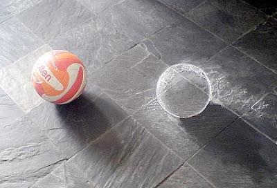 chalk drawings - 3d ball chalk art - chalk drawing