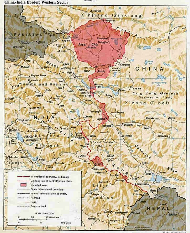 The border between India and China in the Western Sector