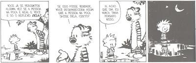 Calvin diante da poça d'água.