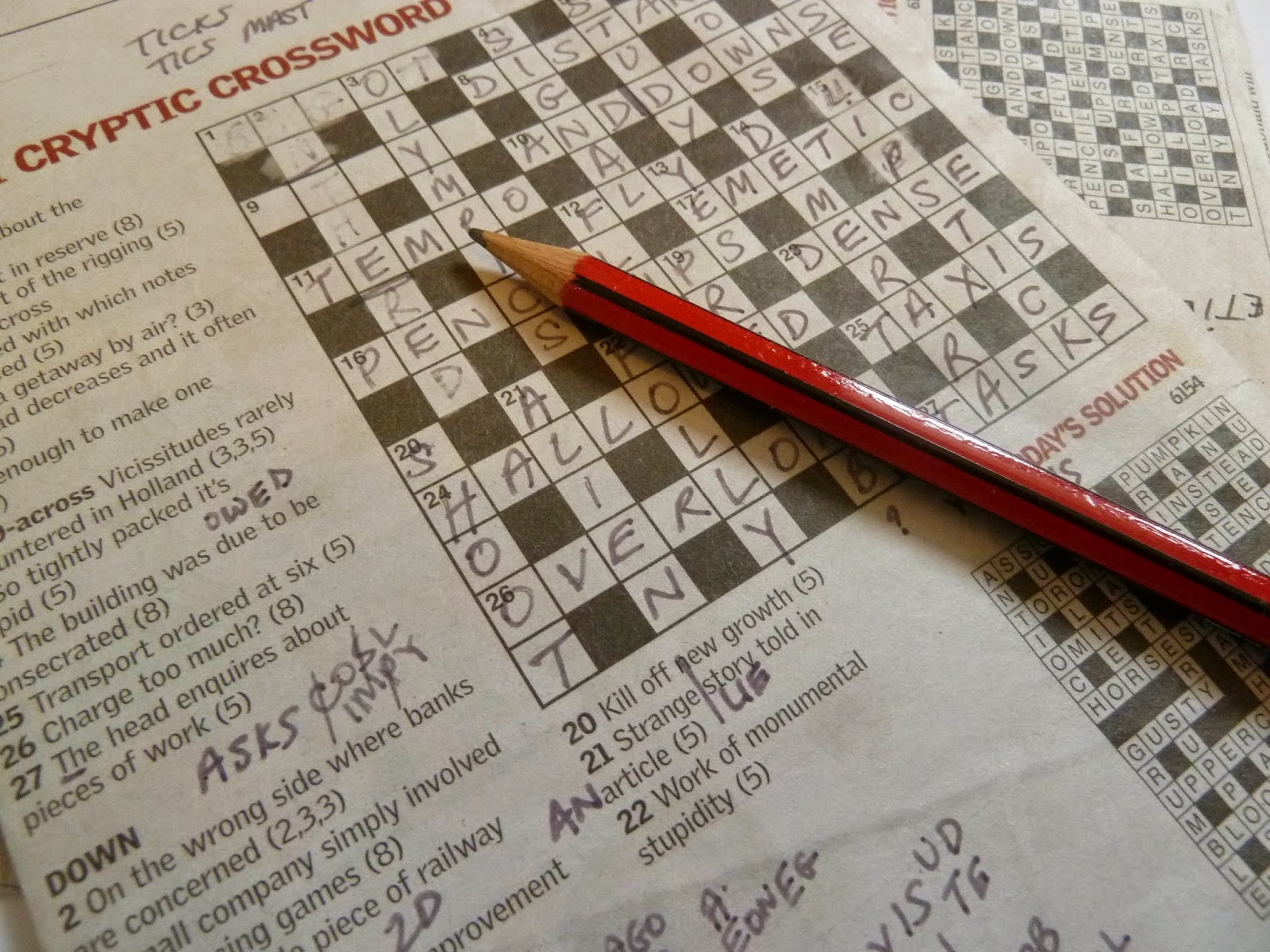 Cryptic crossword from a newspaper