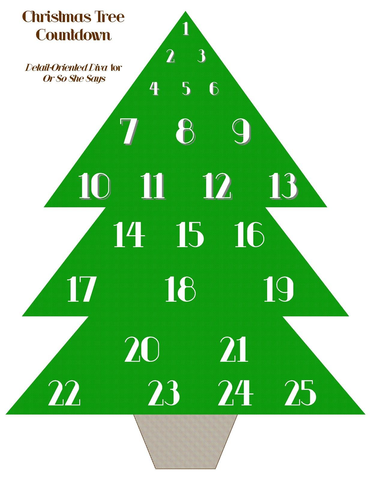 Free Christmas Tree Advent Printable (she: Natalie K.) - Or so she ...