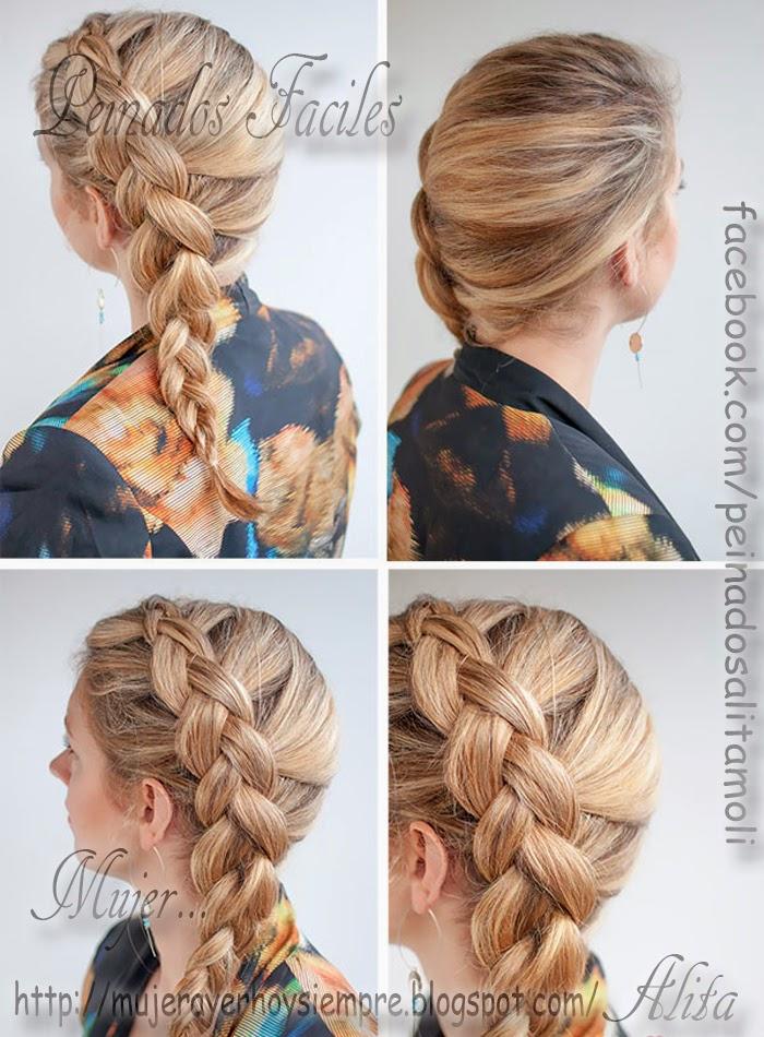 Esta trenza holandesa lateral queda mejor en aquellas que tienen el pelo medio o largo sin capas. No es conveniente que las que tienen cortes en capas