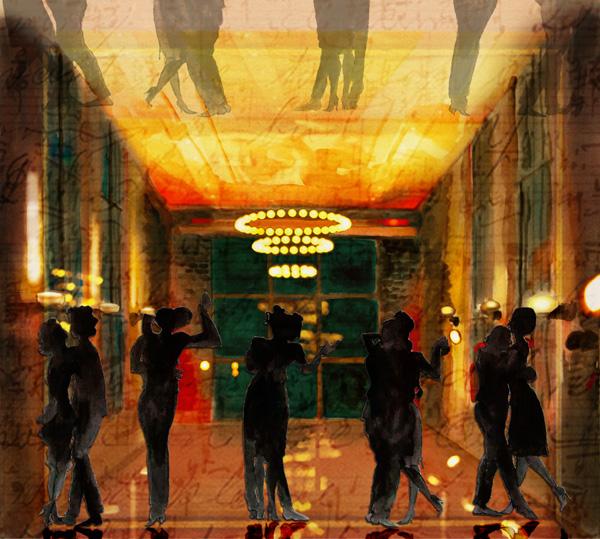Milonga on the Rails, 2011 watercolor digital collage