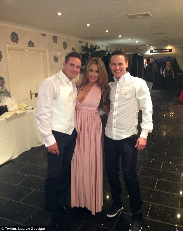 Party time: Lauren Goodger shared the first picture from inside Katie Price's wedding party on Friday evening.