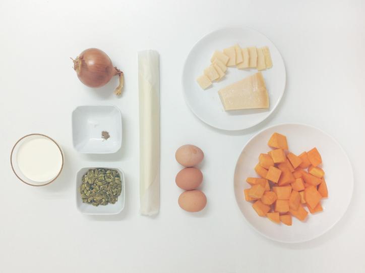 Ingredientes - Quiche de calabaza y parmesano
