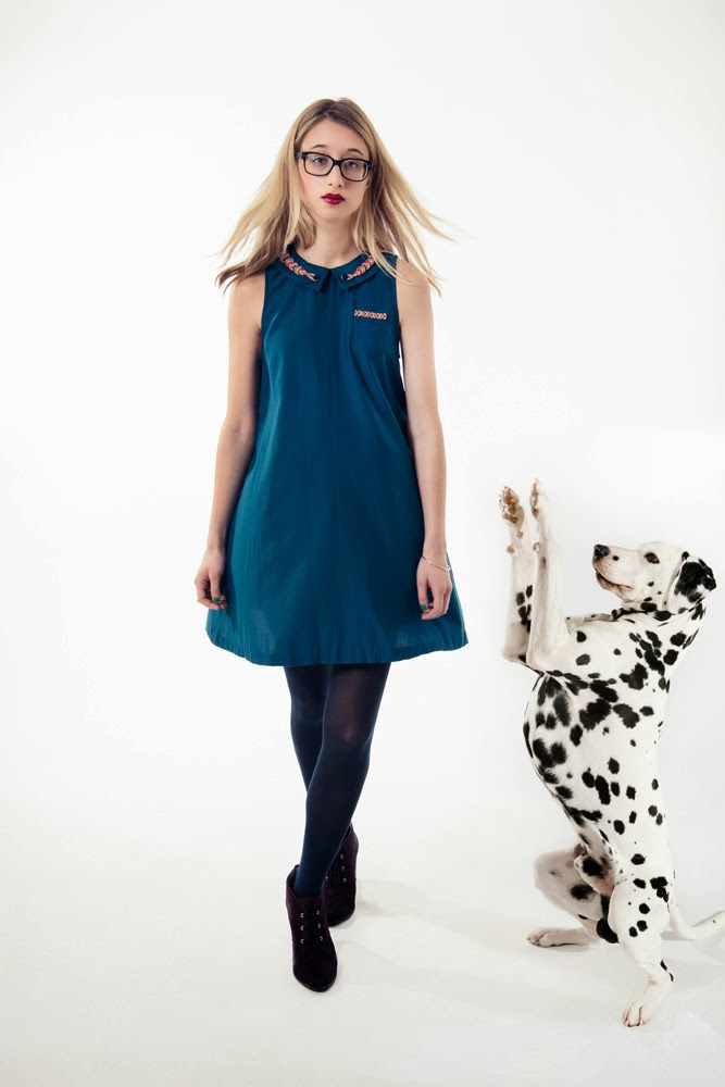 Rachel Antonoff, fall 2013 collection, blue dress, peter pan collar, embroidered, embroidery, dalmatian, trapeze style, blonde, A Coin For the Well