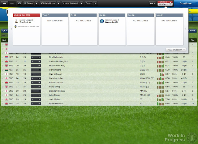 Upper bar in Football Manager 2013 - Showing fixture match