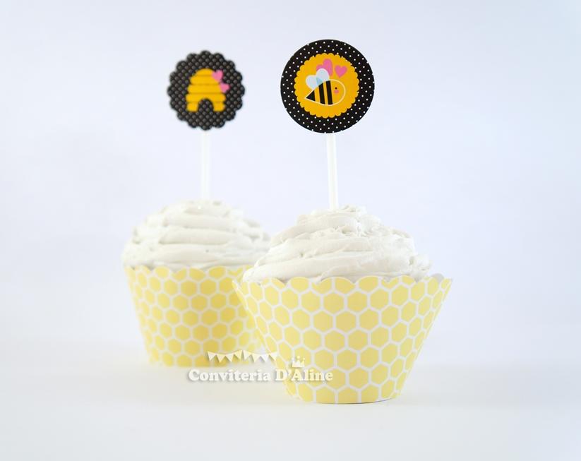 toppers wrappers personalizados cupcake festa abelhinha