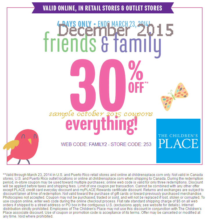 Childrens place promo codes coupons