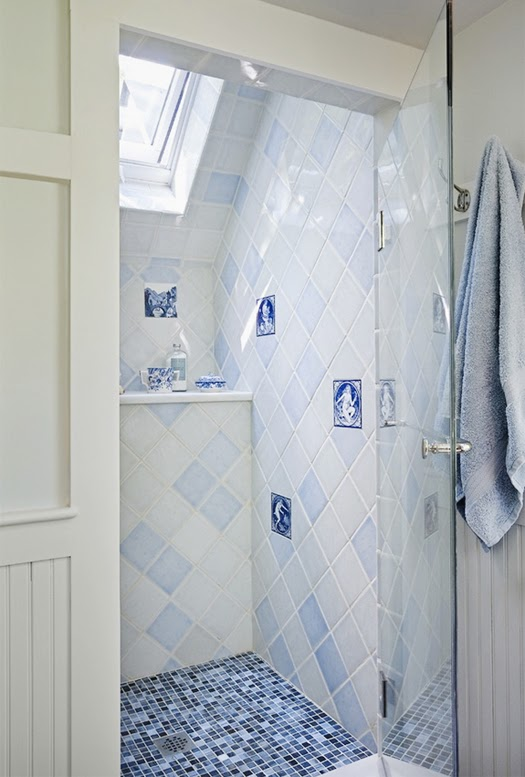 blue + white shower