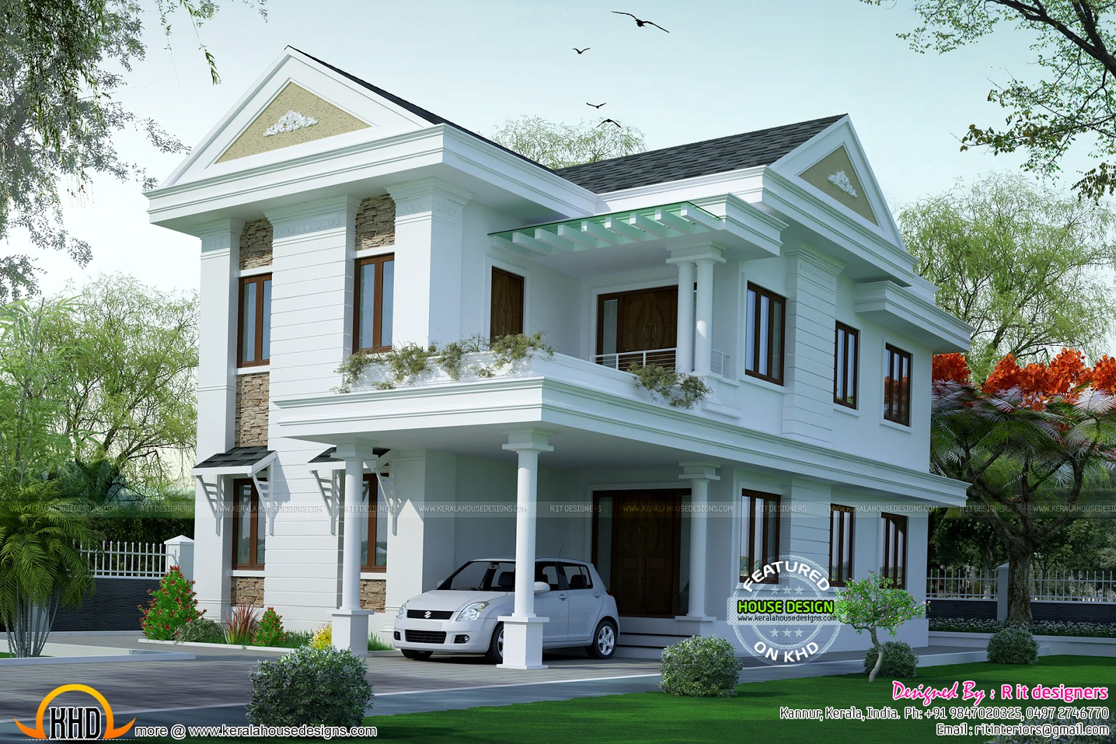 Small double floor dream home design kerala home design for Kerala home designs com