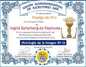 Me otorgaron La espiga de Oro...primer puesto en Unión Hispana de escritores