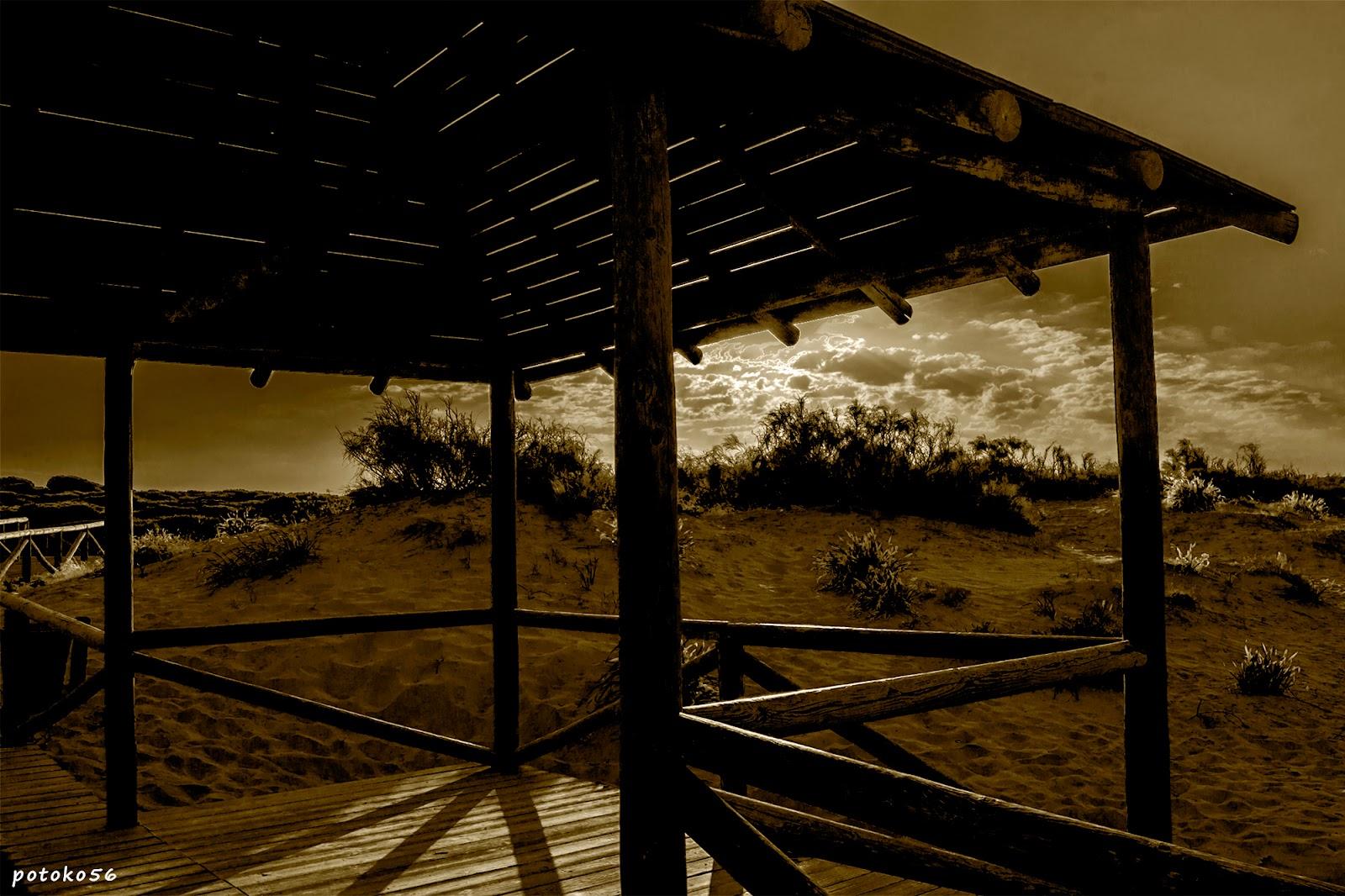 amanecer de hoy desde el mirador playa y pinares de Rota