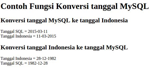 contoh tampilan konversi tanggal mysql