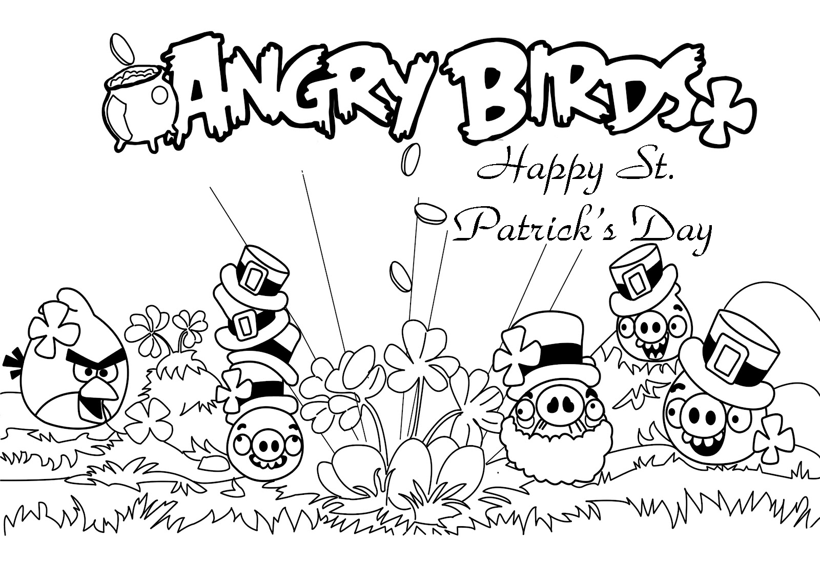 Happy St Patricks Day Angry Birds Coloring Pages