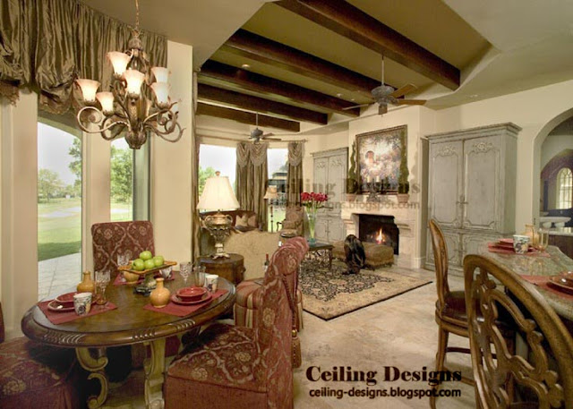 Ceiling Designs For Living Room From Gypsum And Wood