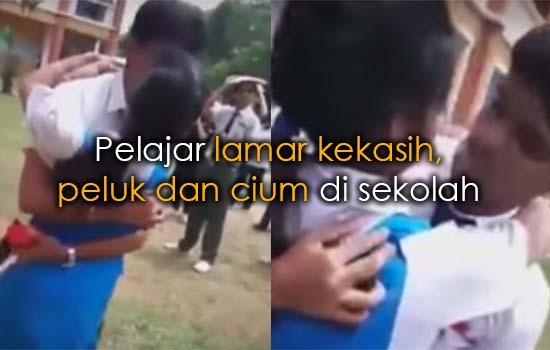 Pelajar lamar kekasih di sekolah diakhiri adegan peluk dan cium dikecam