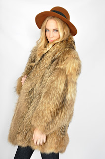 Vintage 1970's brown shaggy coyote fur coat