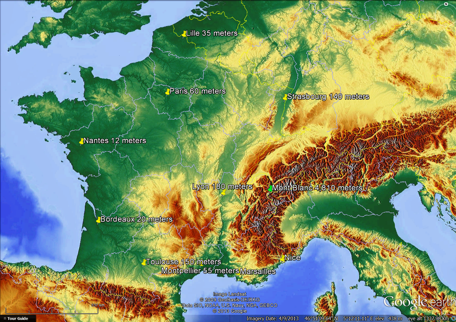 Detailed France geographc map showing elevations.